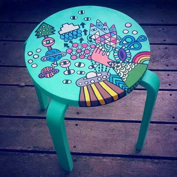 painted Frosta stool