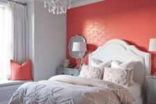 15 a coral accent wall will add a bit of passion to your bedroom