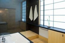 15 minimalist Japanese bathroom with black tiles and light woods