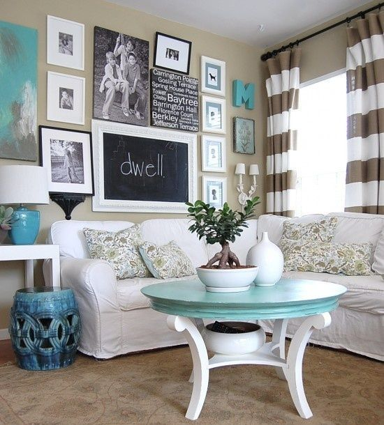 Neutral Beige Room Splashed With Blue And Turquoise Part 76