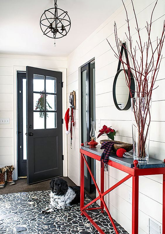 red is a Christmas color, so rock red furniture, branches and decorations