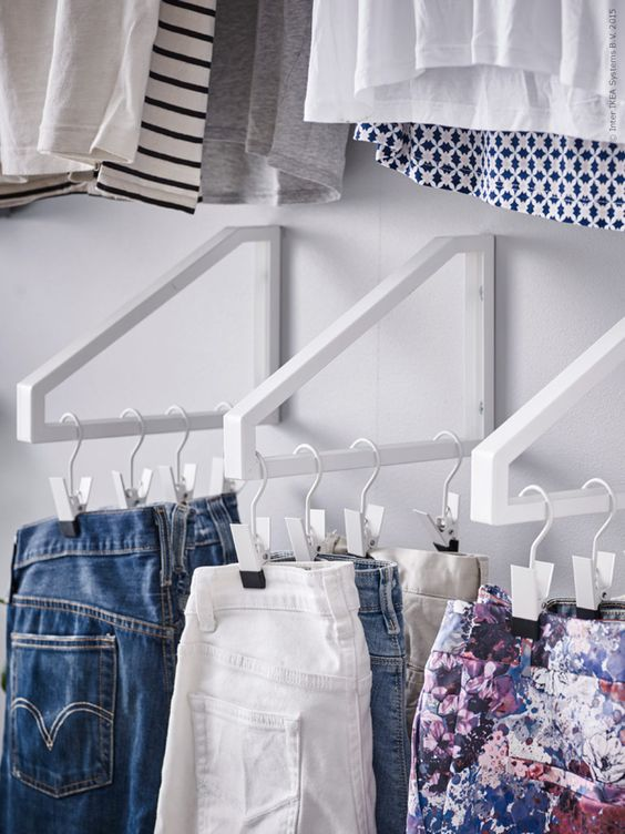 IKEA shelf brackets can be used to add a little extra hanging space