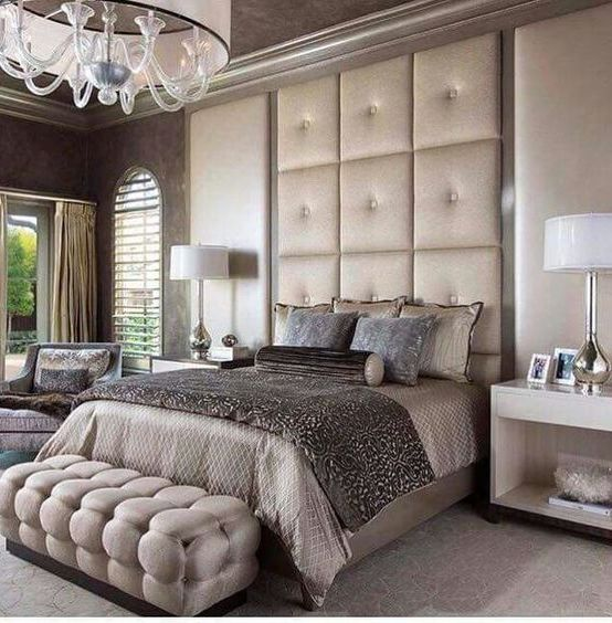 chic and refined bedroom in pastels and neutrals