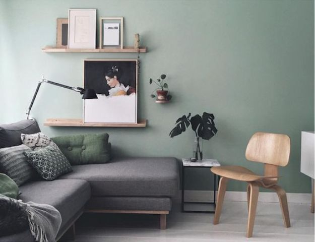 30 green and grey living room d cor ideas digsdigs Light green paint living room