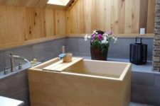16 light wood on the walls and ceiling echo with a traditional ofuro wooden bathtub