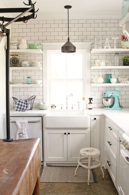 Modern Farmhouse Kitchen With Subway Tiles On The Wall