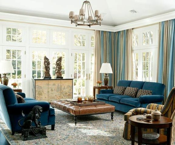 navy blue upholstery  and beige draperies room decor a rich brown 26 Cool Brown And Blue Living Room Designs DigsDigs