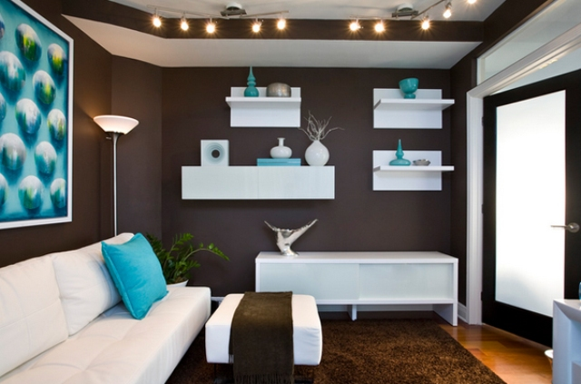 chocolate brown walls and a carpet, aqua blue accessories