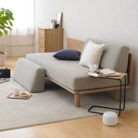 low Japanese-styled couch in light colors