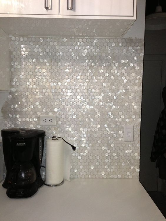 pearl hexagon backsplash will spruce up any kitchen, especially a modern one