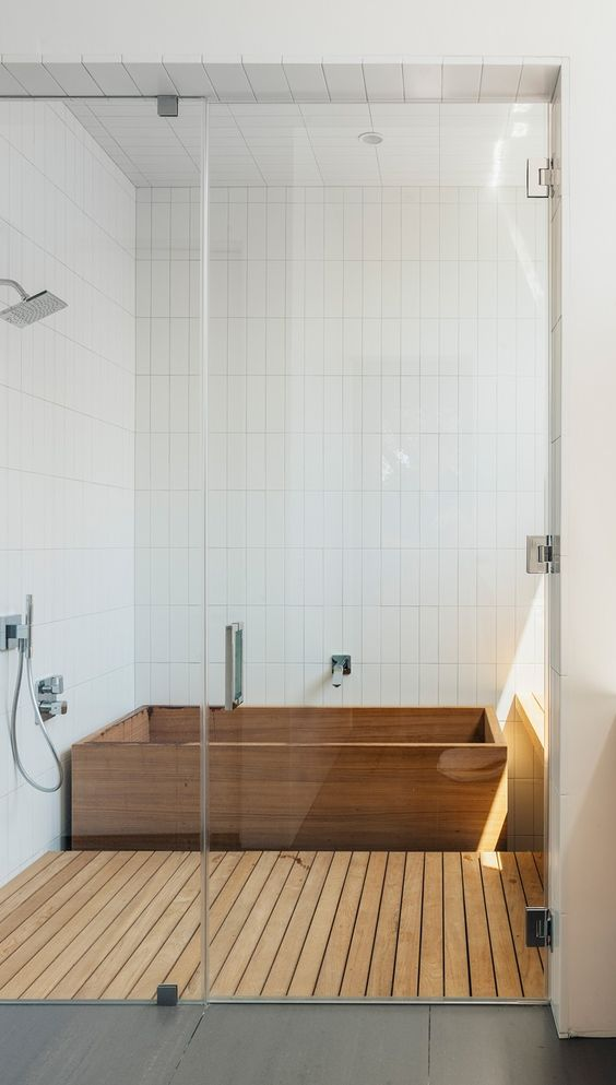 Japanese Ofuro Bathtub And Shower Floor Clad With Wood