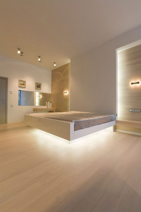 a floating bed with lights looks very dramatic : hidden lighting - azcodes.com