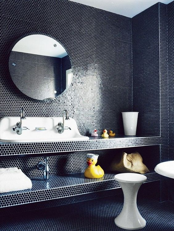 Bathroom With Dark Blue Floor To Ceiling Penny Tile