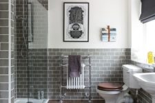 18 subway grey tiles for a shower and a bathroom backsplash