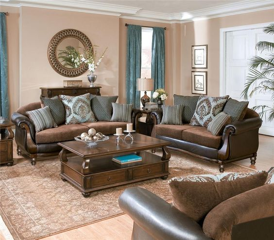 Traditional Brown Living Room In Rich Tones Refined Wood And Blue Draperies To Make The