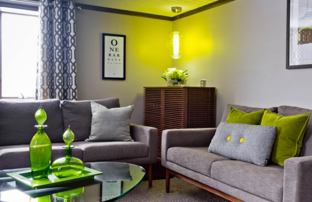 Clean Lined And Comfortable Seating Area With Lime Green Decorations