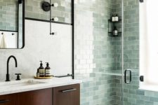subway tiles in shower