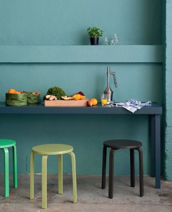 paint the stools according to the kitchen colors