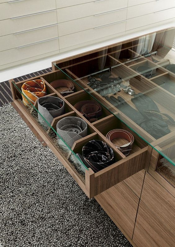 drawers with glass tops for storing accessories and to easily find them when needed