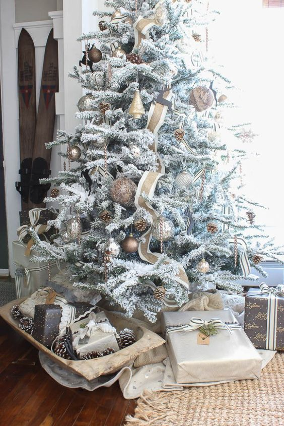 flocked christmas tree with copper ornaments and pinecones - White Flocked Christmas Trees