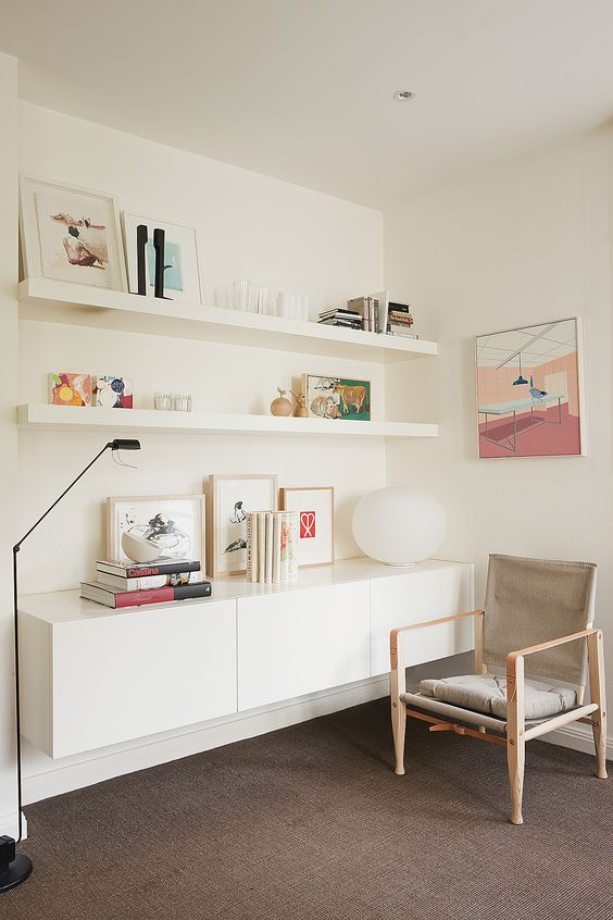 long white lack shelves for comfy living room displays