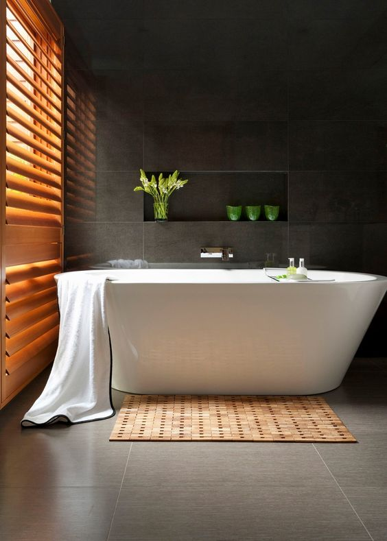 serene and luxurious, this Zen bathroom centres around a freestanding tub