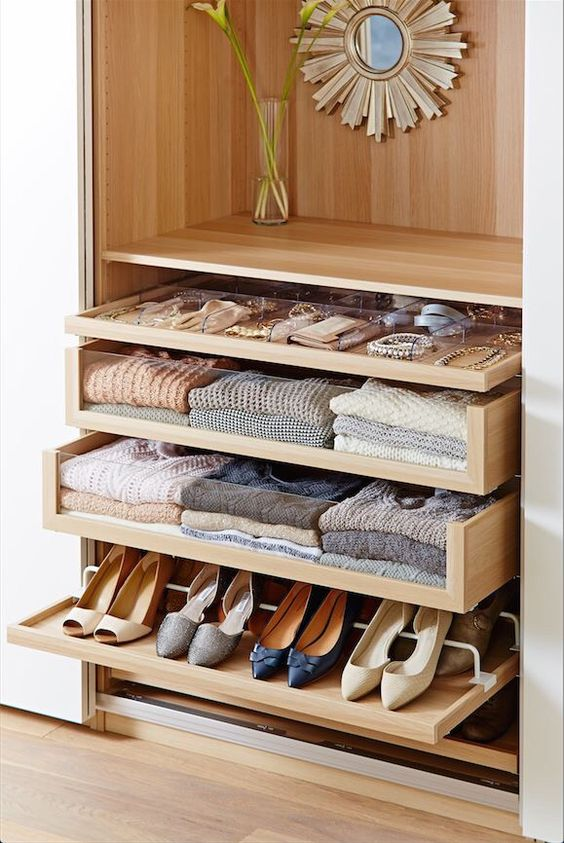 4 small walk in closet organization tips and 28 ideas for Premade kitchen drawers