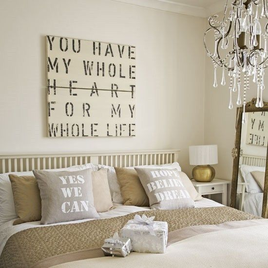 a cool artwork can add a romantic touch to the bedroom decor
