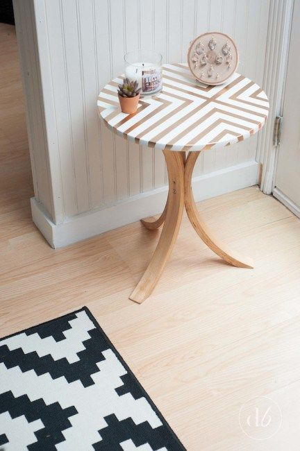 copper geometric tabletop and changed legs turn Frosta into a cool side table