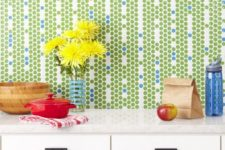 21 green and blue penny tiles backsplash can become a focal point