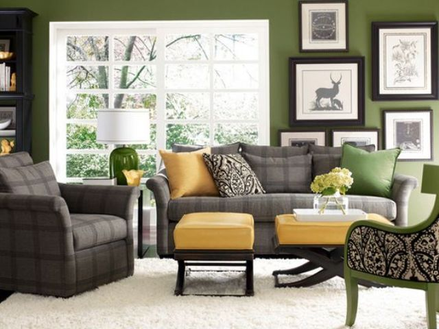 Gr Green Living Room With Sunny Yellow And Checked Grey Accents