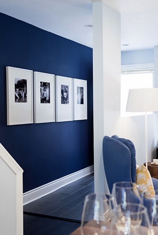 navy accent wall is the best idea for a nautical interior