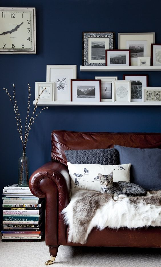 Wall Decor For Brown Furniture : Cool brown and blue living room designs digsdigs