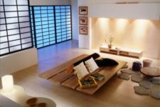 23 Japanese-styled screens instead of doors give this space a stylized look
