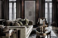 23 elegant modern living room with rich wood decor