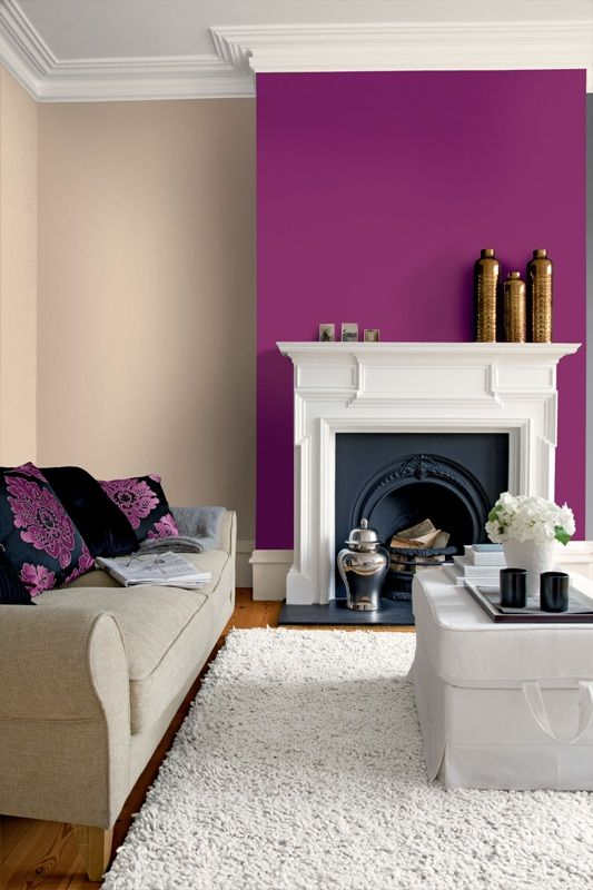 purple alcove wall in a cream room looks refreshing and lively