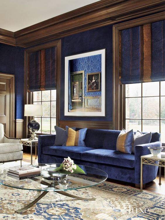 Wonderful Royal Blue Living Room With Rich Brown And Creamy Accents