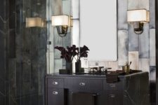 24 Great Gatsby inspired bathroom in dark marble and tiles