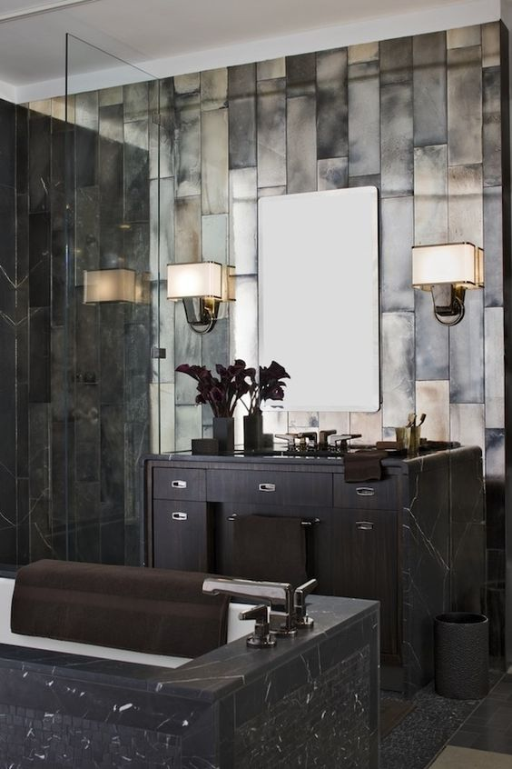 Great Gatsby inspired bathroom in dark marble and tiles