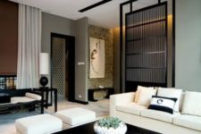 24 Zen interior with a black bamboo screen for separating zones