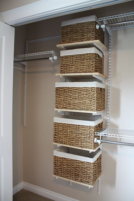 baskets instead of drawers are a nice and comfy idea & 4 Small Walk-In Closet Organization Tips And 28 Ideas - DigsDigs