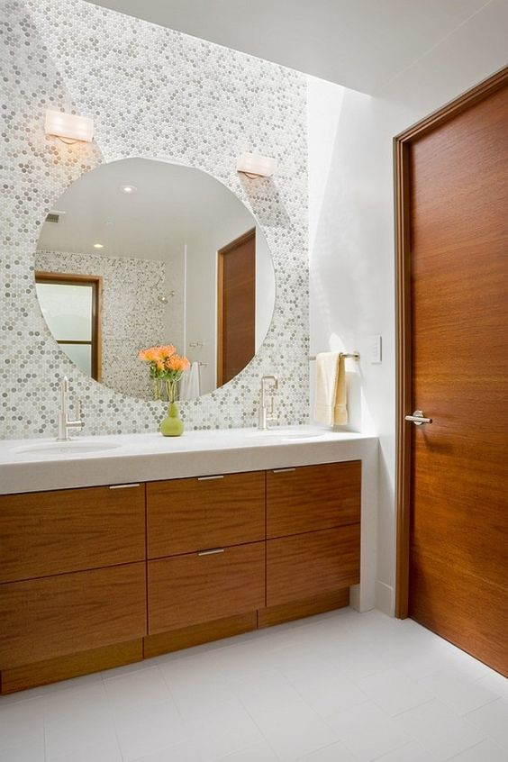 elegant bathroom with multi-colored panny tiles on the wall