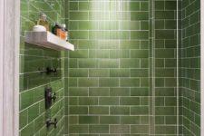 24 green subway tile for a modern shower