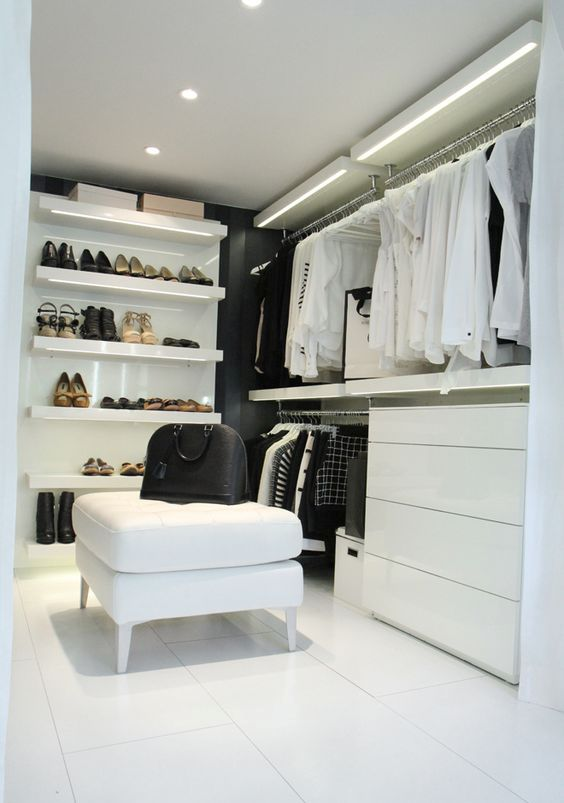 add lights to a white closet to make it brighter
