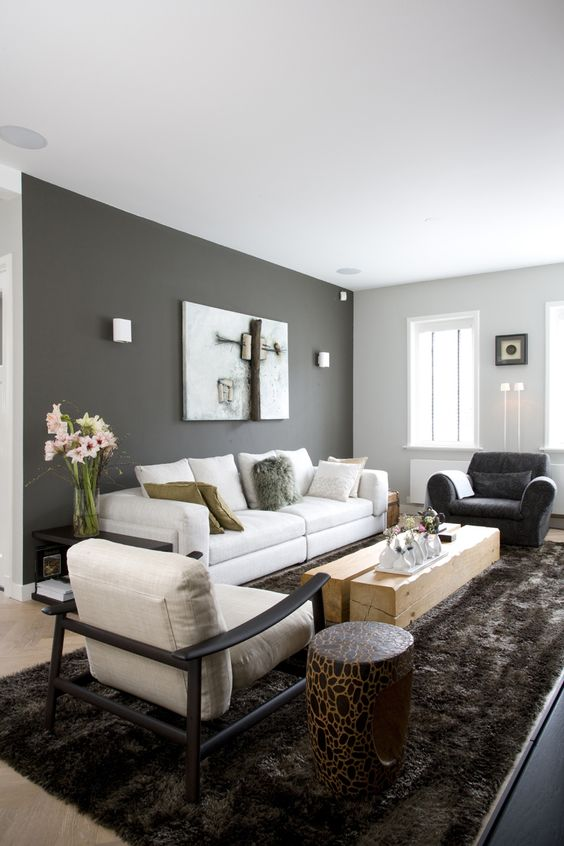 Light Grey Interior Walls: dark grey accent wall and light grey other walls, neutral furniture,Lighting