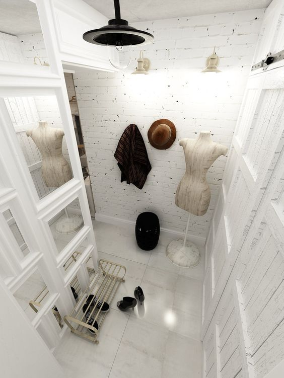 girlish entryway with whitewashed bricks for a shabby chic touch