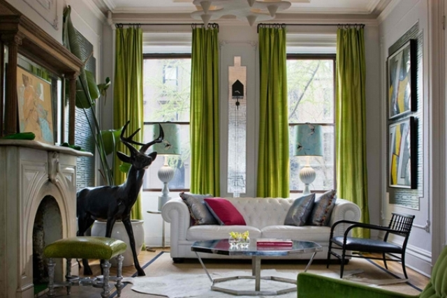 pops of lime green make this lounge whimsical and eye-catchy
