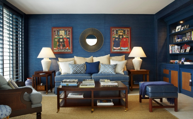 Brown And Blue Living Room blue and brown living room  interior design