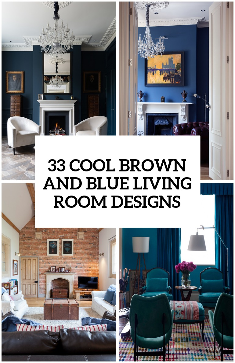 Good Cool Brown And Blue Living Room Designs Cover