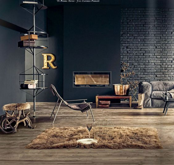 industrial touches and textures of brick, metal and fur make this living room unique